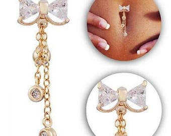 Bow dangle belly button ring
