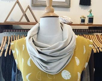 Tan Circle Scarf, Neck Warmer, cotton circle scarf, jersey circle scarf, Jersey Knit Scarf, Neutral Scarf, lightweight scarf