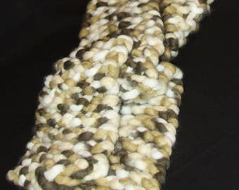 multi browns and whites thick knit scarf