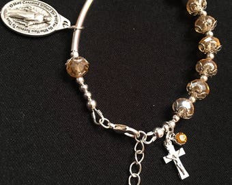 Champagne Faceted Crystal Glass Rosary Bracelet
