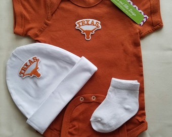 Texas Longhorns baby boy outfit with hat-longhorns romper-texas longhorns for baby-baby boy texas longhorns-texas longhorns baby outfit-