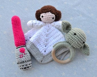 Basket Star Wars gift baby star wars, doudou, blanket attachment, teether, rattle, baby star wars, star wars baby Leia, Yoda, laser