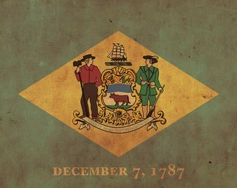 Vintage Delaware Flag on Canvas, Flag, Wall Art, Delaware Photo, Delaware Print, Fine Art, First state Flag, Single or Multiple Panels