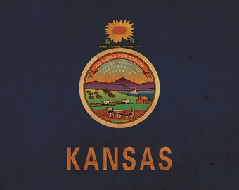 Vintage Kansas Flag on Canvas, Kansas,  Flag, Wall Art, Kansas Photo, Kansas Print, Fine Art, Kansas state, Single or Multiple Panels