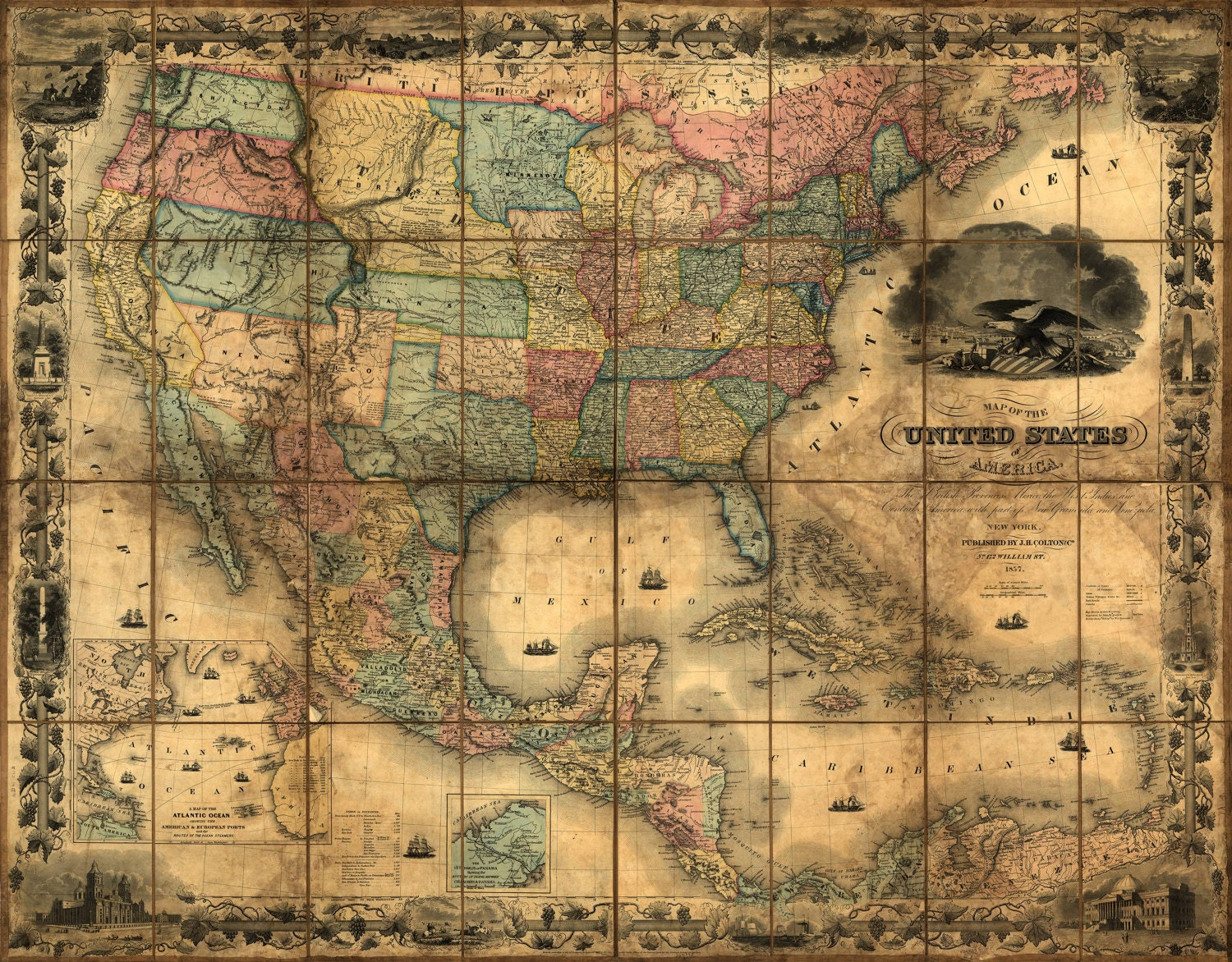 United States Map Vintage Map Canvas Large Map Wall Art Map - Vintage map of us