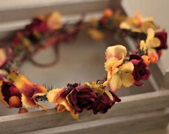 Flower head wreath head piece colorful winter flower hair wreath wedding crown