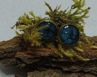 Resin - Stud Earrings with ornate dark blue livery (213) - resin