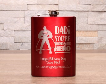 Red Fathers Day Hipflask...Dad your my Hero design. Personalised message