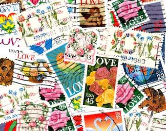 40 Love Vintage Postage Stamps