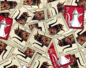 30 Teapot Vintage Postage Stamps