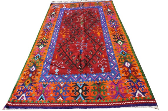 Unique Multi Color Vintage Kilim RugHand Made Turkish Wool