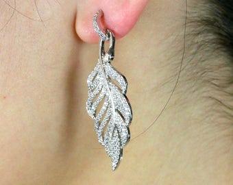 Leaf earrings/Silver leaf earrings/Large leaf earrings
