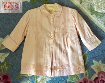 Vintage Baby Pink French Silk Girls Toddler Coat - Size 4-6 -Babette Silk Capital 1940's Embroidered