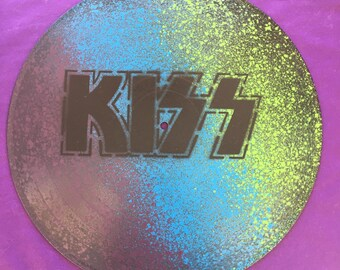KISS Spray Painted Record Clock