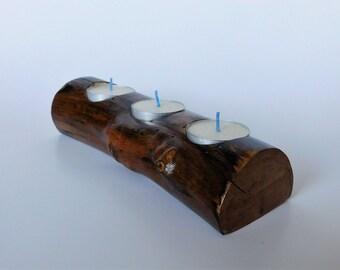 Sale - Reduced - Rustic Wood Log Tea Light Candle Holder
