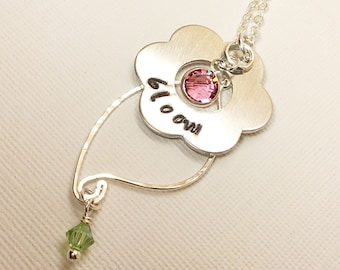 Personalized Bloom Flower Washer Stamped Necklace