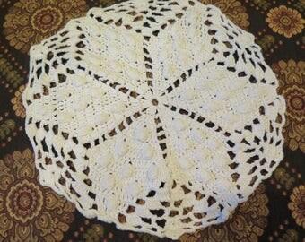 "White Easter Star Doily Hand Crochet Vintage Round 11"" Antique White Raised Work Pattern SALE"