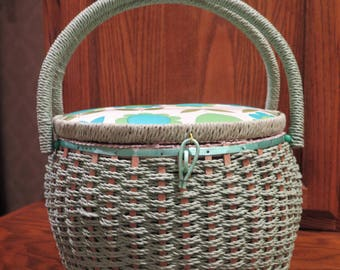 Sewing Basket SINGER Box Vintage Round Barrel Green Silky White Lining Lid Not Attached