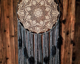 Stormy Skies Large LEDLighted Dreamcatcher wall hanging -hand crocheted doily and crystal accents.