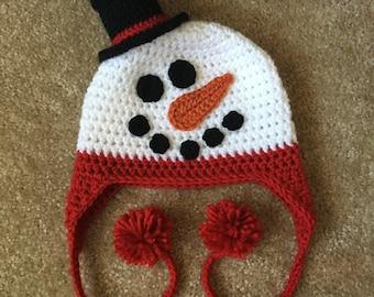 Newborn Snowman Hat, Snowman Crochet Hat, Newborn Christmas Hat, Baby Christmas Hat