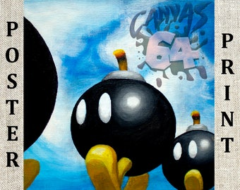 Bob-Omb Battlefield POSTER PRINT (Super Mario 64) Painting from Princess Peache's Castle
