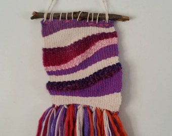 Wall weaving, abstract art, textile art, abstract textile art, weaving, purple, pink and orange, OOAK