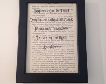 Harry Potter recycled book page, dumbledore quote, framed Harry Potter quote, happiness can be found, gift, wall art