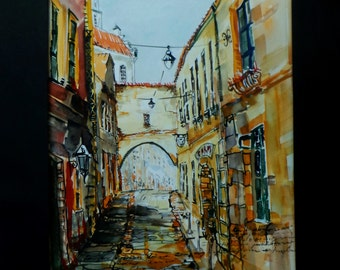 Original Watercolor painting of Lithuanian old town