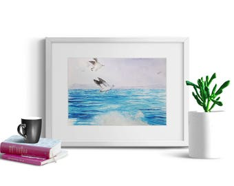 Original watercolor painting, Sea painting, Sea and Seagulls, Original fine art