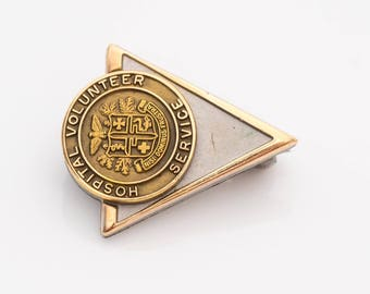 Hospital Volunteer Service 1950s 10k Two Tone Gold Pin, VJ #955