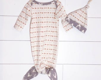 Knotted Newborn Gown Tan/Gray Arrows