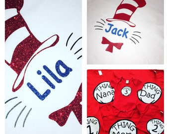 Family Dr. Seuss shirts - cat in the hat - Custom - Shirts - gitter - thing one - thing nana - thing teacher - thing anything
