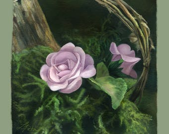 """Flower Art - Flower Decor - Giclee Print Country Rose by Leanne Peters 8"""" x 8"""" Archival Print"""