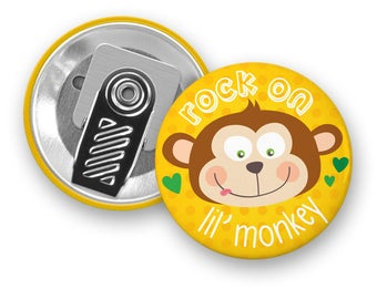Motivational badge Rock On Lil' Monkey - Clip Button - Badge - Monkey - Motivation - Kids - Minimo playful motivation