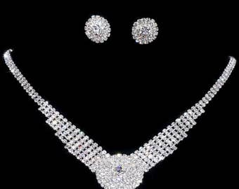 New Simple Charming Silver Wedding Engagement Crystal Rhinestone Necklace Earrings Set