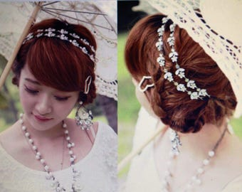 Fashion Hair Accessories Elegant Crystal Flower Tiaras Elastic Hair Band Lovely Headband Romantic Bridal Hair Jewelry