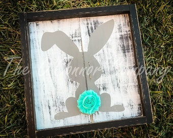 Hand painted Bunny sign with chiffon shabby rose tail Easter Bunny, Girls room, Rustic Bunny and rabbit sign