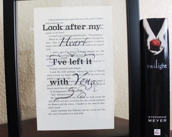 Twilight Saga • Look after my heart • Book Quote • Breaking Dawn • Edward Cullen • Twilight Poster • Framed Wall Print • Stephenie Meyer