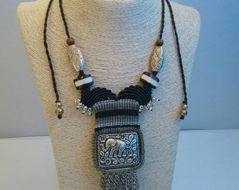 Thai Handmade Macrame Necklace, Cotton Waxed and Rhodium Molded Elephant