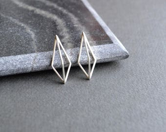 3D Kite Ear Studs | Sterling Silver Geometric Earrings | 3D Geometric Earrings