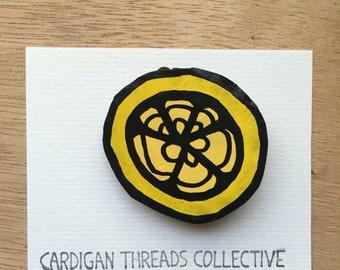 Cardboard Brooch - lemon segments