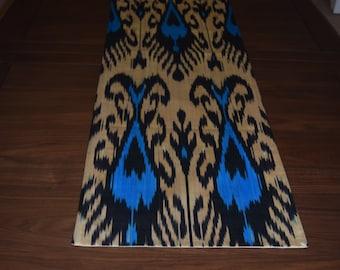 Blue & Cream Ikat Table Runner
