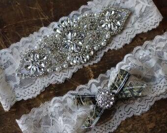 Camo Wedding Garter Set NO SLIP grip vintage rhinestones, rhinestone garter
