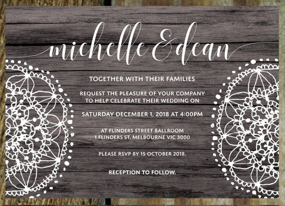 Items Similar To Wedding Invitations Rustic Vintage Lace PRINTABLE