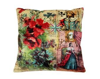 VIntage Collage Pillow Cover, Decorative Cushion Cover, Art Pillow, Velvet Pillow, collage pillow, pillow art