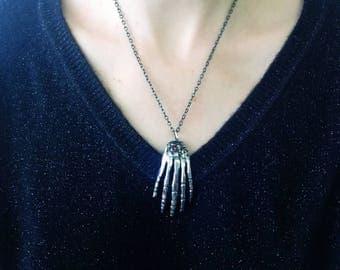 Skeleton fork hand pendant
