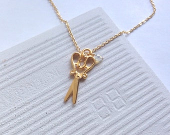 Gold necklace, necklace, gold, Gold scissors charm necklace, gift, lucky charms