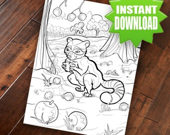 Raccoon  Coloring Page - Adult Coloring Page Printable Digital Download Hand Drawn Original Art Wildlife Drawing by M. W. Wilson