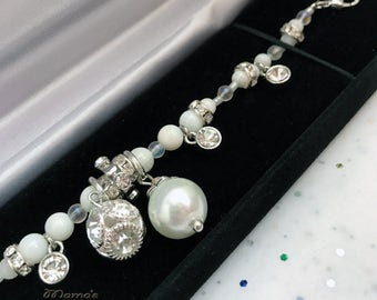 "Glittery White Pearl Wedding Bracelet, 7"", Bits & Baubles, Sparkly, Shiny, Rhinestone Rhondelles, Nickel Free, Glass, White Shell, Bride"