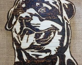 Wooden Rottweiler dog face wall plaque